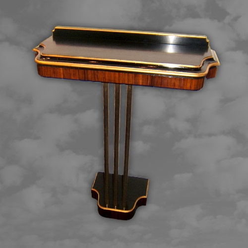 Very funky Art Deco console , including a separate mirror, with geometric glazing