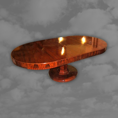 Spectacular French Art Deco Walnut Circular Extending Dining Table