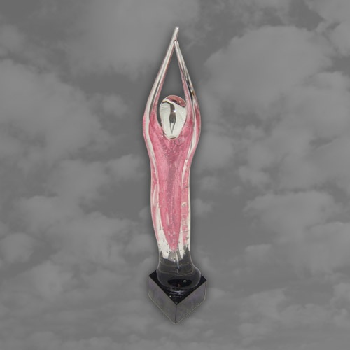 SERGIO ROSSI for Murano. Clear glass and pink figural torso on a square plinth