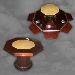 A very rare octagonal shaped mahogany cocktail table.