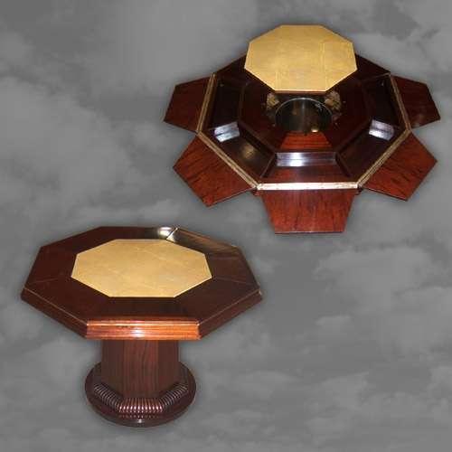 Very Rare Octagonal Shaped Mahogany Cocktail Table
