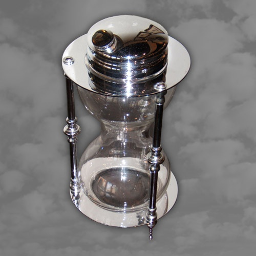 American Egg Timer Shaped Glass and Chrome Cocktail Shaker