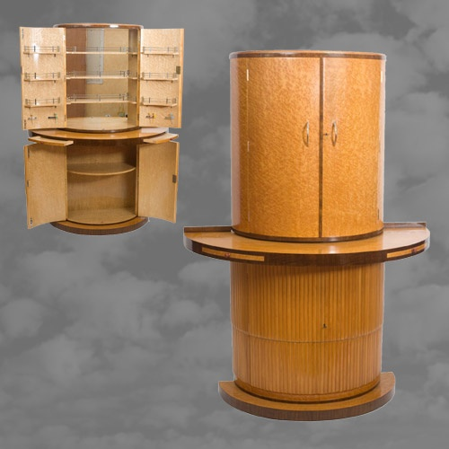 Exceptional Art Deco Walnut and Birdseye Maple Cocktail Cabinet