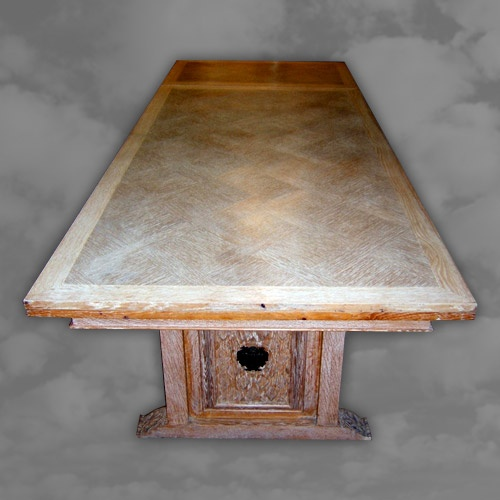 Limed Oak Draw Leaf Table with Carved Undercarriage
