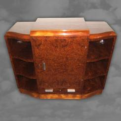 A superior quality French amboyna side cabinet