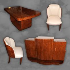 Superb quality English dining suite made from amboyna