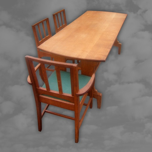 English Arts and Crafts Oak Dining Suite