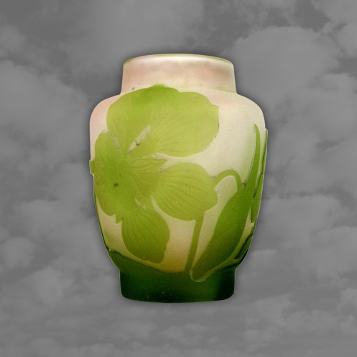 Galle Cameo Vase: Singed and Decorated with Wild Flowers