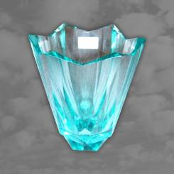 MOSER: German Art Deco blue glass of geometric design, stunning quality
