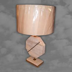 A 1970s travertine and brass occasional lamp of octagonal form