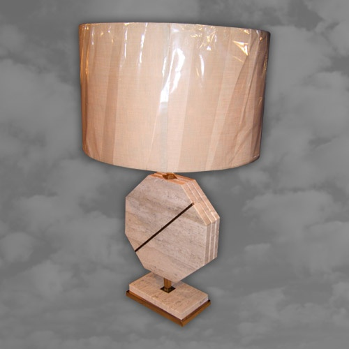 1970s Travertine and Brass Occasional Lamp of Octagonal Form