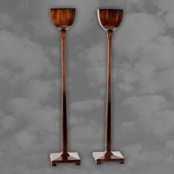 A superb pair of English Art Deco oak and mahogany uplighters