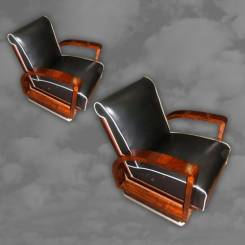 Superb pair of French Art Deco walnut framed chairs on chrome bases.