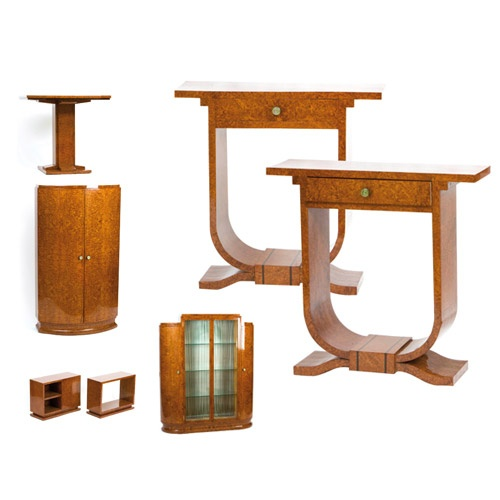 Important seven piece French Art Deco amboyna wood library suite.