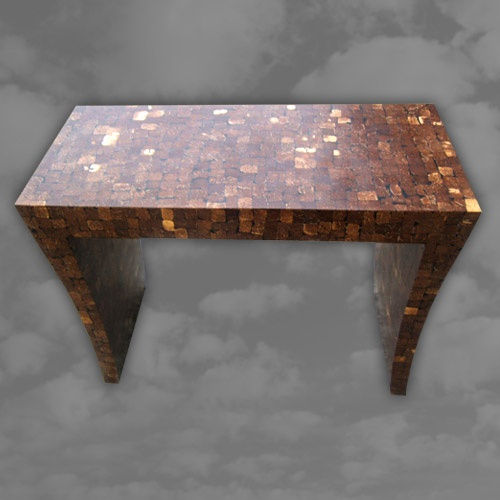 Unusual coconut console table on in swept legs.