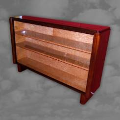 A superb French open book case in straight grain walnut