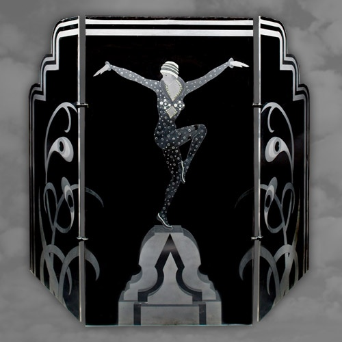 A stunning perspex screen depicting semi nude dancer