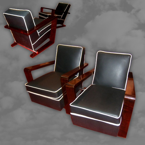 A fantastic pair of French Art Deco armchairs