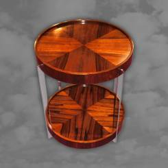 Stunning circular rosewood and chrome table