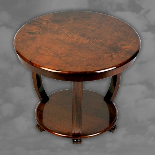An English Art Deco burr walnut low occasional table.