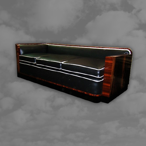 A magnificant French Art Deco mahogany framed day bed