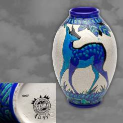 "CHARLES CATTEAU for BOCH FRERES : BELGIAN : A stunning ""Biches Blues"" vase"