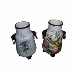 Pair of Porcelain Vases with Panther Head Handles and Feet