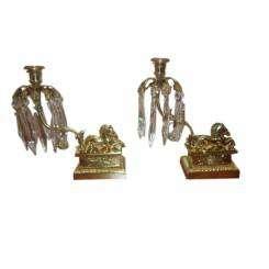 Ornate Brass Seahorse Candlesticks