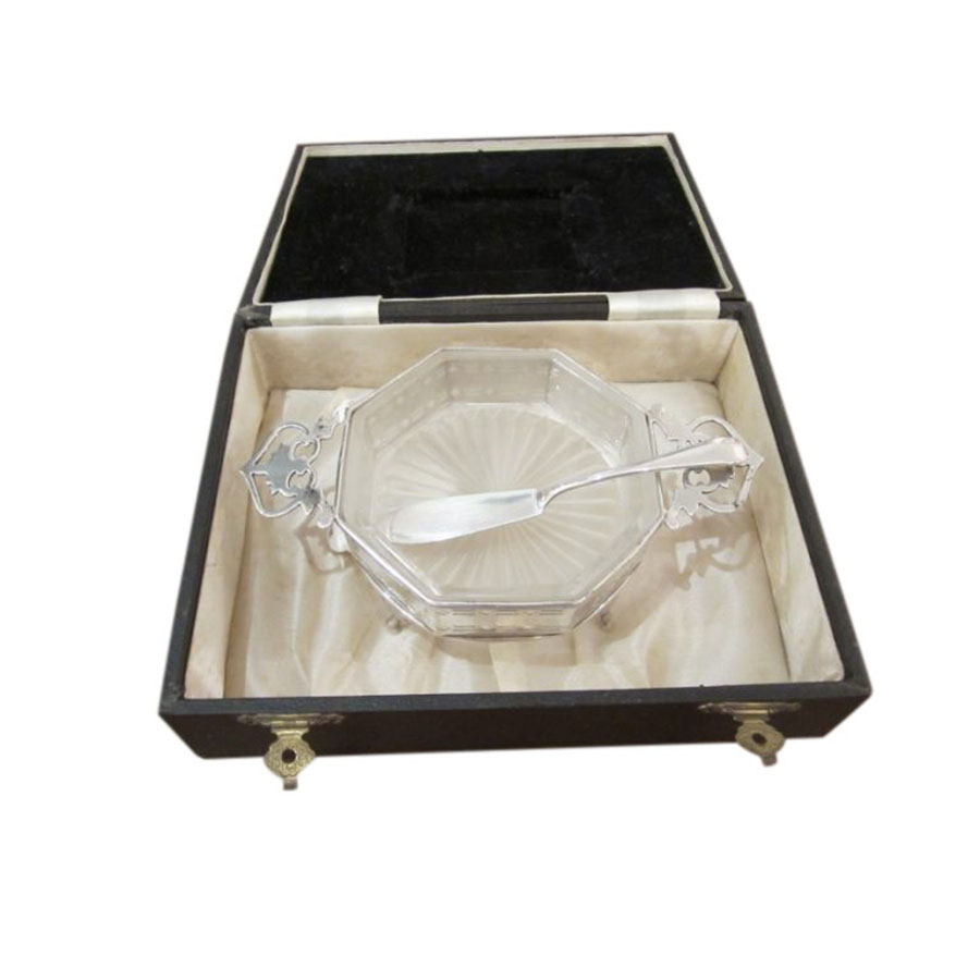 Cased Silver and Glass Butter Dish With Knife