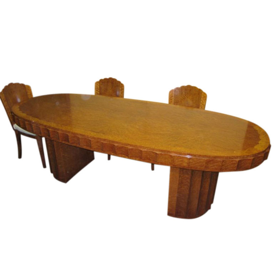 IMPORTANT 9 PIECE AMBOYNA DINING SUITE