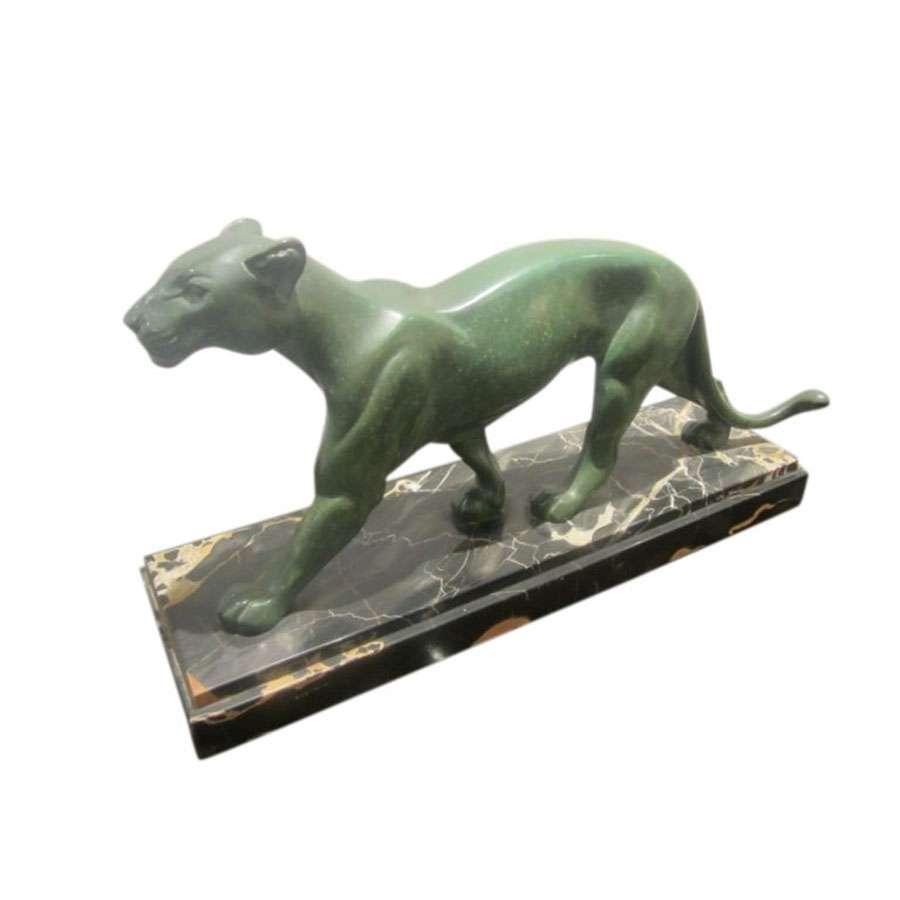 Art Deco Green Patinated Panther