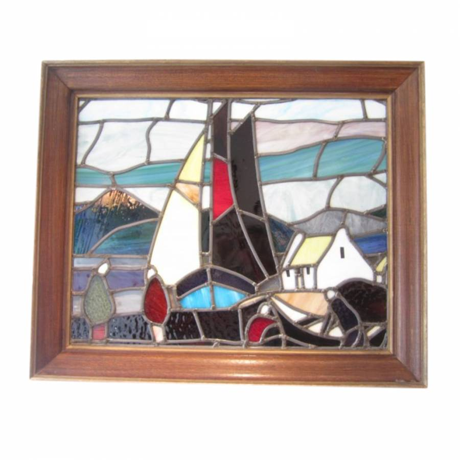 Rare Stained Glass Panel by Markey Robinson