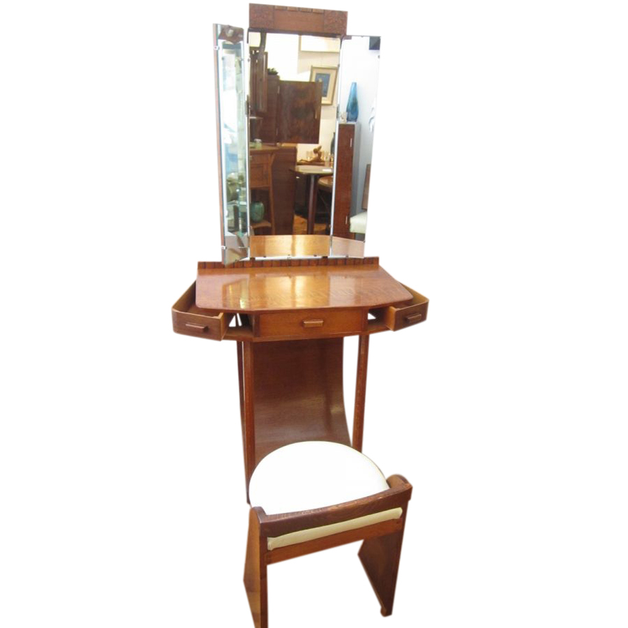 Rare Art Deco Oak Dressing Table