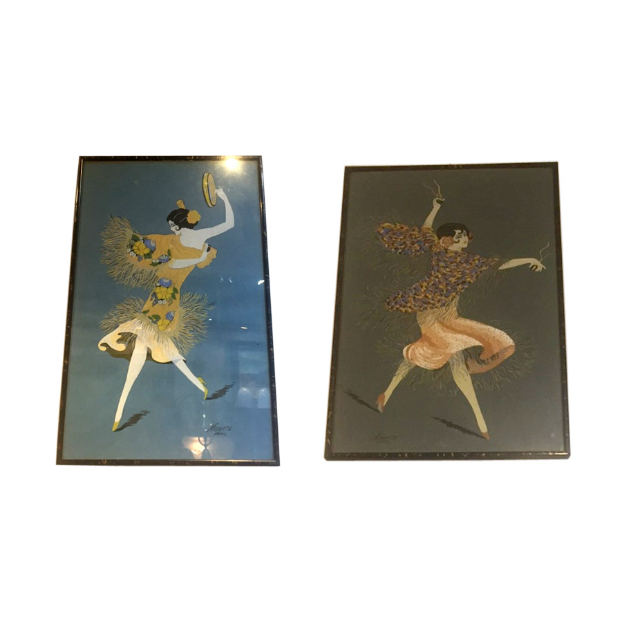 Funky Pair of Deco Water Colours