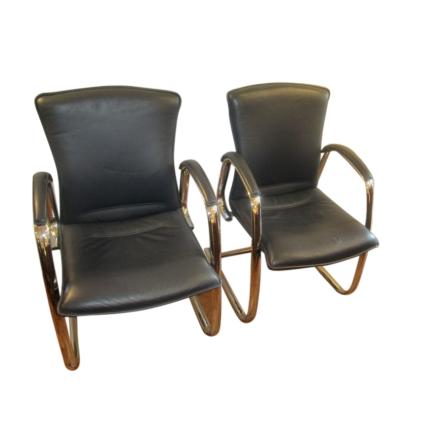 Set of Six Chrome and Leather Arm Chairs