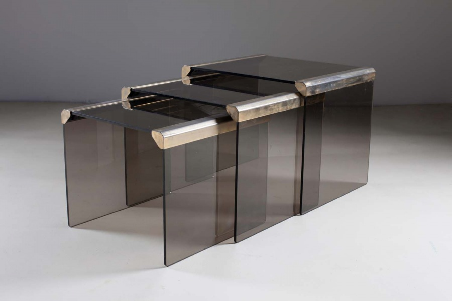 Nest of Smoked Glass and Metal Tables