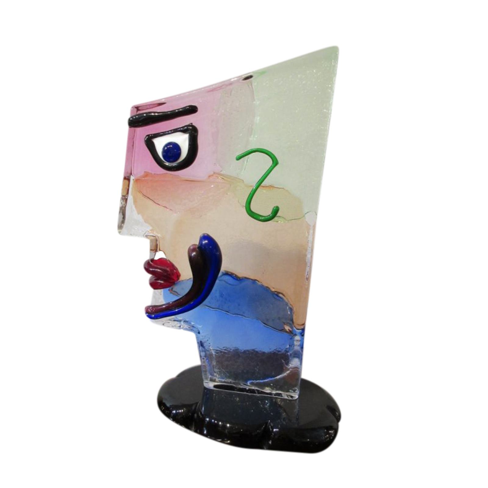 "Very Funky ""Picasso"" Glass Sculptural Head"