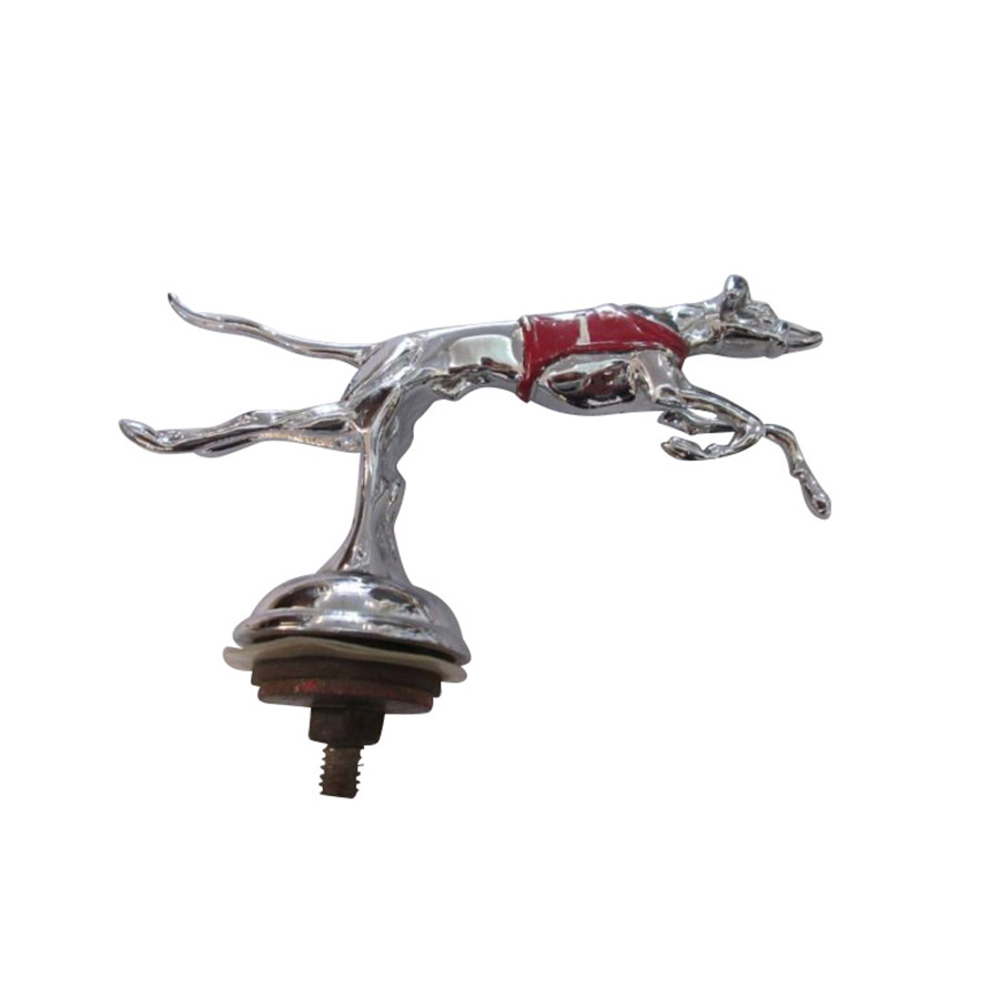 Chrome and Painted Car Mascot in the Form of a Greyhound