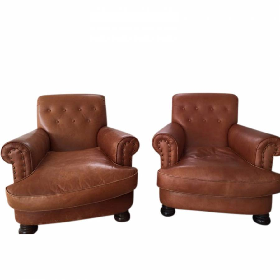 Pair Of Victorian Style Deep Buttoned Leather Armchairs