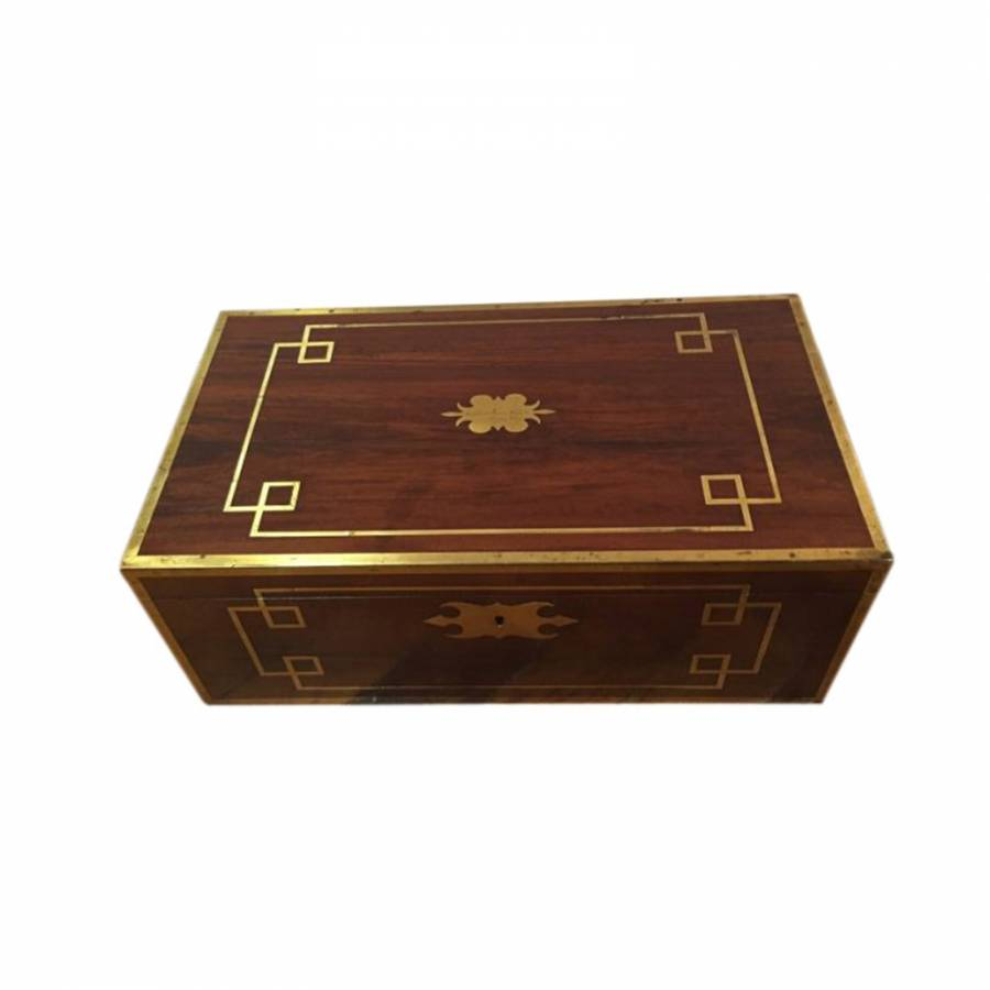 Campaign Regency Period Rosewood Brass Inlaid Writing Box