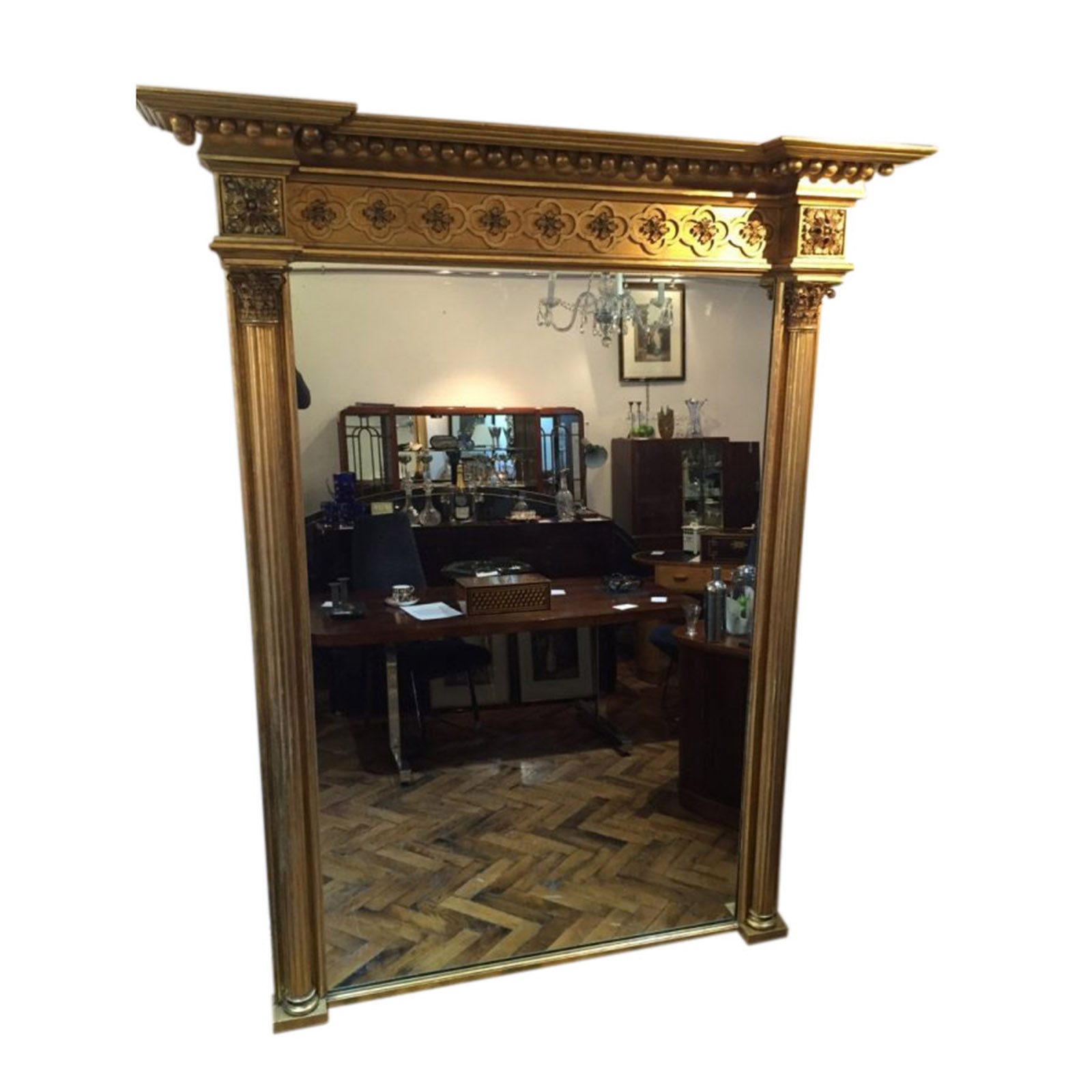 Exceptional Large Early 19th Carved Wood and Gesso Overmantle