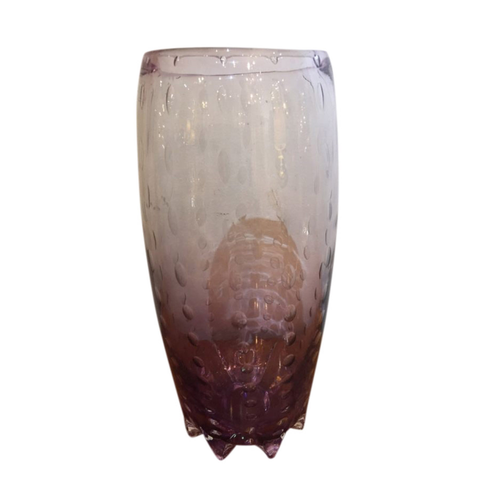 Amethyst Art Glass Vase with Bubble Inclusions