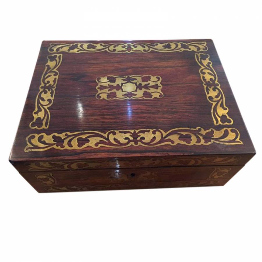 Good Quality Brass Inlaid Jewellery Box