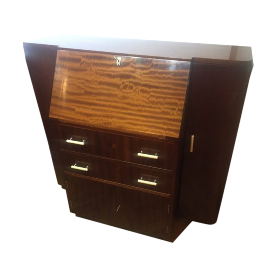 Rare Art Deco Mahogany Slope Front Desk