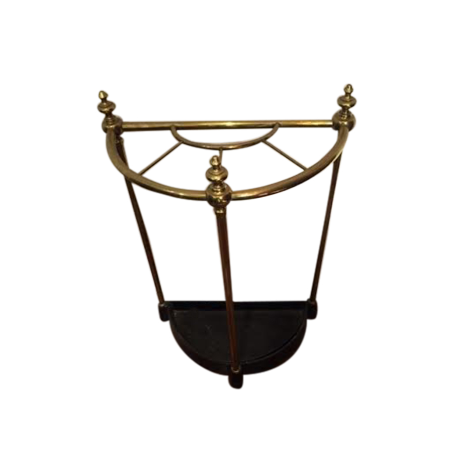 victorian brass half moon umbrella stand. Black Bedroom Furniture Sets. Home Design Ideas