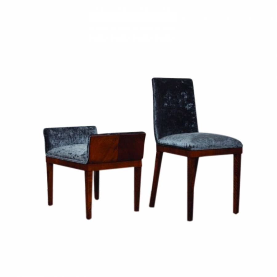 Superior Quality Walnut Occasional Chair & Matching Stool