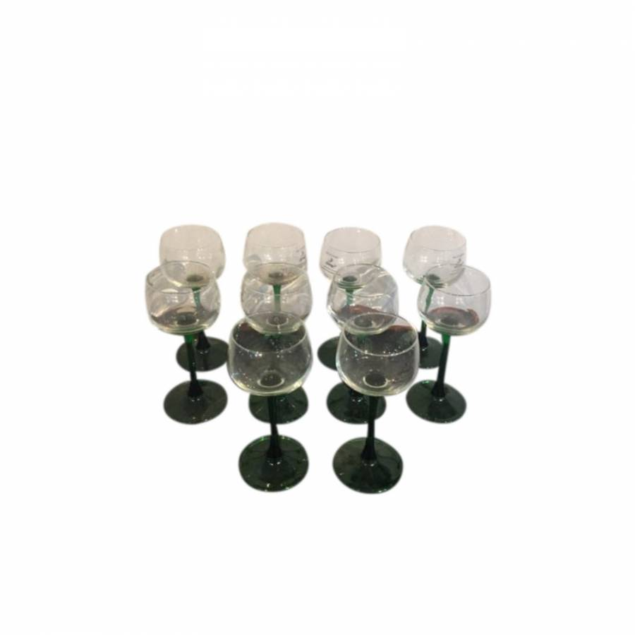 Set of 10 Wine Glasses With Green Stems