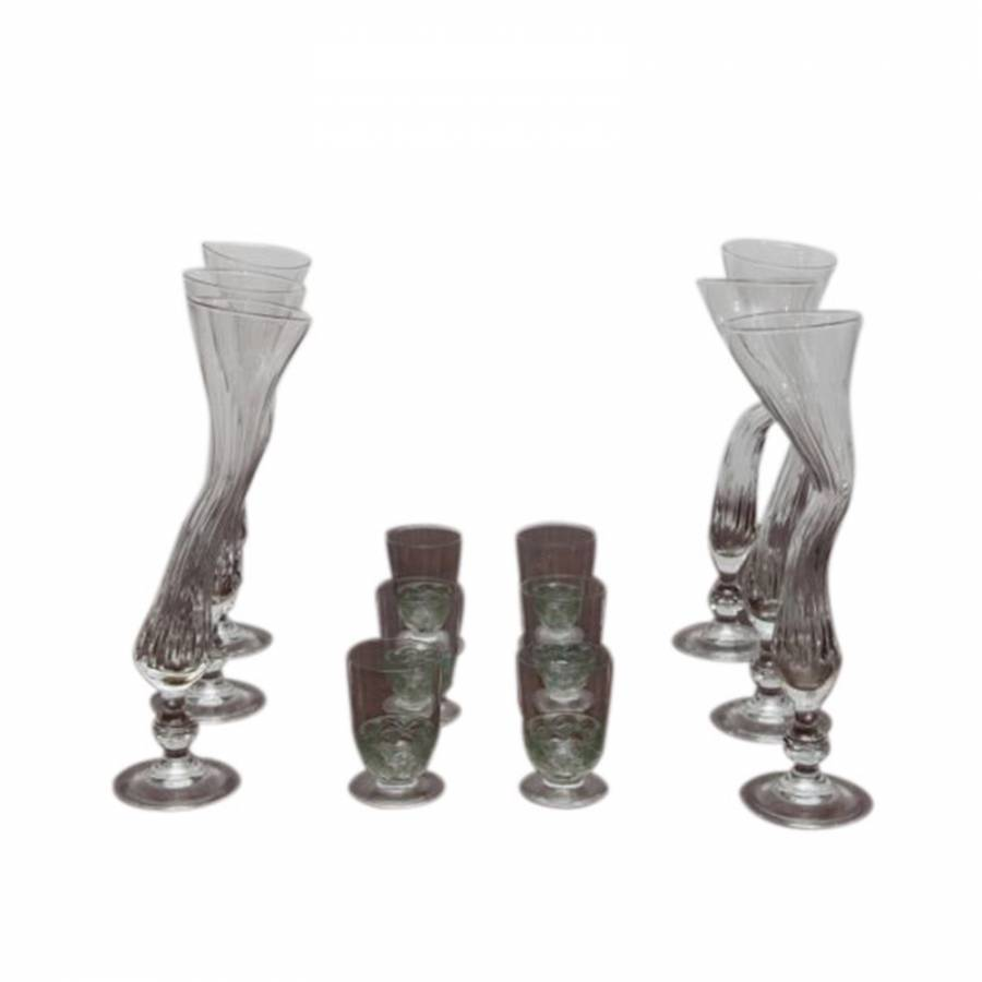 Quirky Swirl Shaped Glasses & Set Of 6 Lalique Shot Glasses