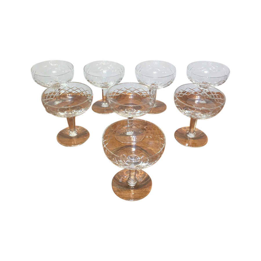 Set of 8 Vintage Cut Glass Champagne Coupes