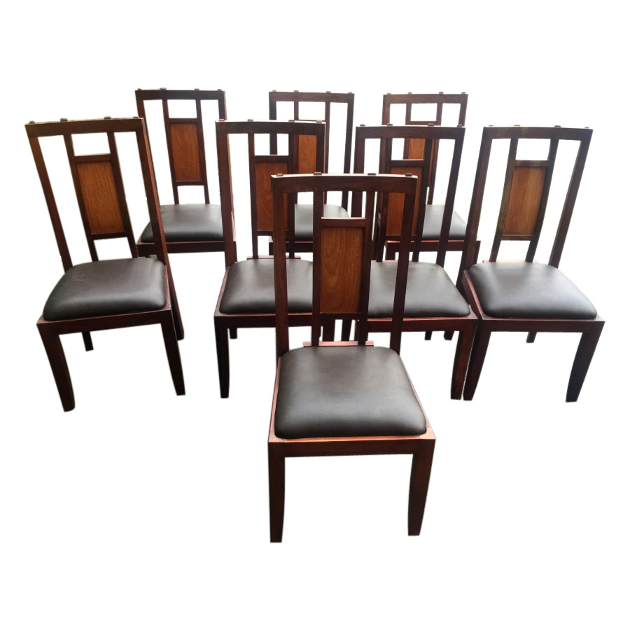 In The Manner Of Alfrank Set of 8 Solid Rosewood Dining Chairs